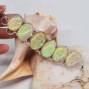 Silver Bracelet Natural Opal Artisan Lampwork